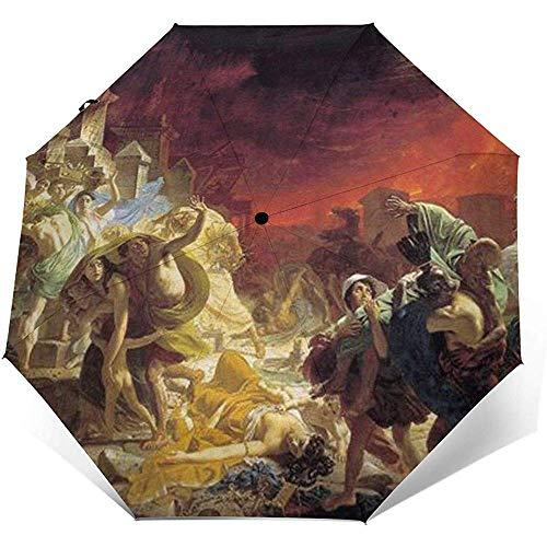 Der letzte Tag von Pompeji Folding Compact Regenschirm wasserdicht-Sun Block-Auto Open&Close (schwarzer Kleber)