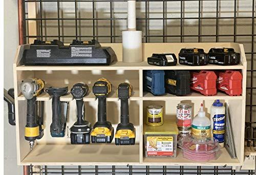 Cordless Drill Tool Holder Organization Rack Wood Shelf Case Organizer 5-Slot Multi Storage