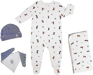 Baby Shower Gift Box, 100% GOTS ORGANIC CERTFIED, 100% Cotton Unisex Babygrow with feet, Hat, Bandana Bib, Blanket, for ba...