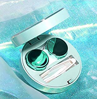 Mimoo-Stylish Premium Contact Lens Mate Box,Contact Lens Container Kit Set Contacts Lens Holder Travel & Home Kit with Mirror,Tweezers,Stick Connection (Green)