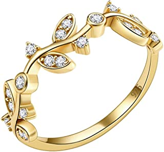 925 Sterling Silver Curved Olive Branch with Clear CZ Stones Wedding Band Promise Ring for Women Size 4-10