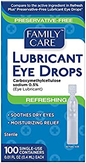 Family Care Refreshing Lubricant Eye Drop Preservative Free Single Use Vials Individually Sealed containers of 5 vials , Relief for Redness Dry itching Sensitive Allergies 1 Package (100 Count)