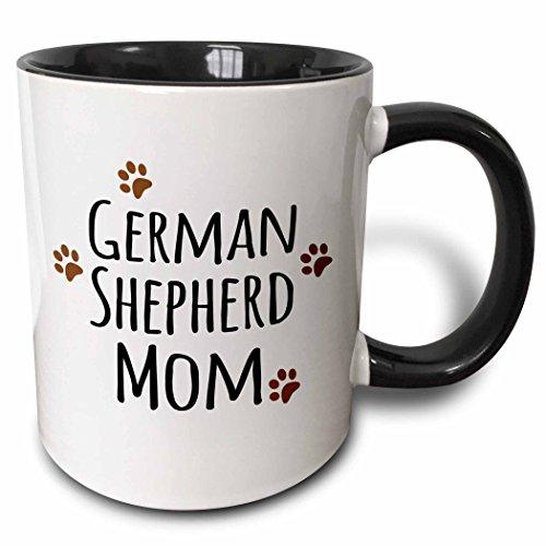 3dRose mug_154123_4 German Shepherd Dog Mom Alsatian Doggie by Breed Brown Muddy Paw Prints Doggy Lover Mama Two Tone Black Mug, 11 oz, Black/White