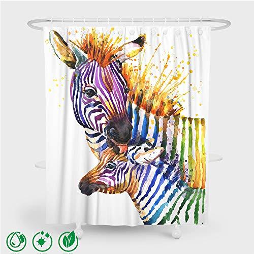 Enhome Duschvorhang Waschbar Wasserdichter Anti-Schimmel mit 12 Kunststoffhakens, Duschvorhang aus Polyester 3D Moderner Zebradruck Badewannevorhang für Badezimmer (180x180cm,Farbe Zebra)