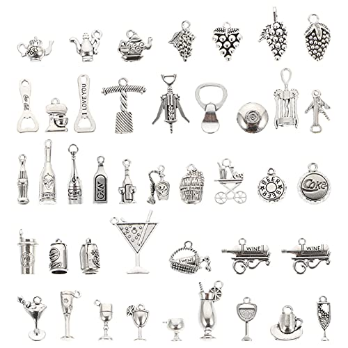 EXCEART 84 Piezas de Dijes con Temática de Vino Dijes Vintage Dijes Colgantes para Joyería Hallazgos para Collar Pulseras Pendientes Llavero Artesanía (Plata)