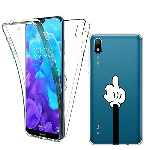 Reshias Funda para Huawei Y5 2019, Transparente TPU Silicona + PC Dura Charla Silicona 2 en 1 360°Full Body Anti-Arañazos Protectora Carcasa Case Cover para Huawei Y5 2019/Honor 8S