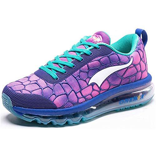 ONEMIX Damen Turnschuhe Leichtgewichts Atmungsaktiv Sportschuhe Straßenlaufschuhe Sneaker für Fitness im Freien 1096 Blue/Red 40