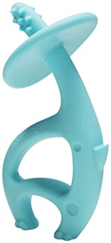 Mombella Dancing Elephant Blue BPA Latex Free Safe Silicone Baby Teether Toy for Mouth Explore, Hand-Mouth Connection...
