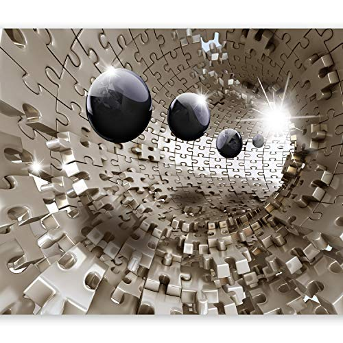 murando Fototapete 3d Effekt 350x256 cm Vlies Tapeten Wandtapete XXL Moderne Wanddeko Design Wand Dekoration Wohnzimmer Schlafzimmer Büro Flur Puzzle Abstrakt Kugel Tunnel a-A-0190-a-b