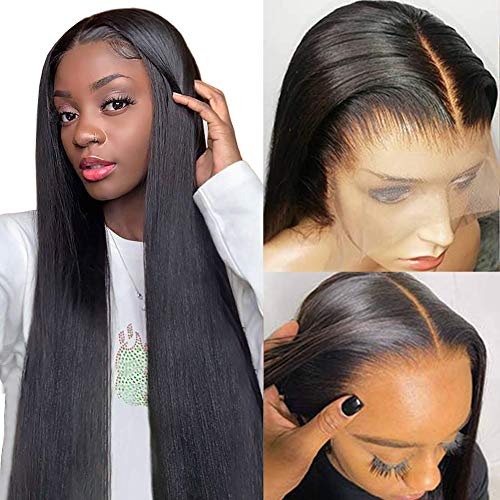 Crissel HD Transparent Lace Front Wigs Human Hair, 150% Density Pre Plucked with Baby Hair, Brazilian Straight 13x4 Lace Frontal Wigs Human Hair for Black Women Natural Color(22 Inch)