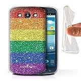Personalisiert Benutzerdefinierte LGBT Gay Pride Gel/TPU Hülle für Samsung Galaxy S3/SIII/Gedrucktes Glitter Stampel Design/Initiale/Name/Text Schutzhülle/Case/Etui