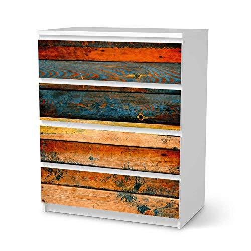 creatisto Klebe-Folie Möbel passend für IKEA Malm Kommode 4 Schubladen I Möbelfolie - Möbel-Folie Tattoo Sticker I Schöner Wohnen für Schlafzimmer und Wohnzimmer - Design: Wooden