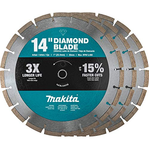 Makita B-69646 14' Diamond Blade, Segmented, General Purpose, Contractor 3/Pk