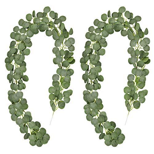 Alishomtll 2 x 2M Efeu Girlande Silberdollar Eukalyptus Künstlich, Kunstpflanze Hängepflanzen Efeugirlande für Tischdeko Hochzeit Garten Party