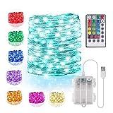 Bunt LED Lichterkette Außen Batterie & USB, 16 Farben 132 Modi Lichterkette für Zimmer mit Fernbedienung, 5M 50LED Fairy Lights Dimmbar,...