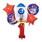 Globo de Papel de Aluminio Spaceman Theme Cumpleaños Set Exterior Espacio Foil Globos Rocket Forma Número Helio Balloon Fiesta de cumpleaños Decoraciones (Color : Red 1)