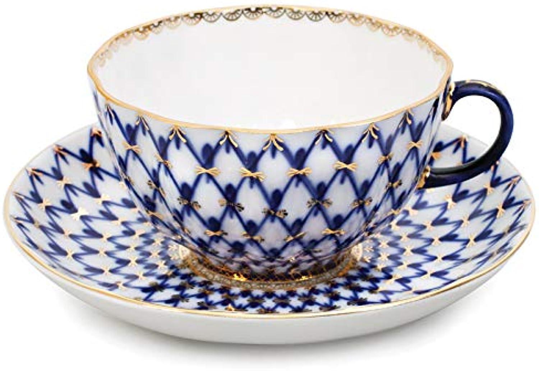 Imperial Lomonosov Porcelain Teacup w Saucer Tulip Cobalt Net