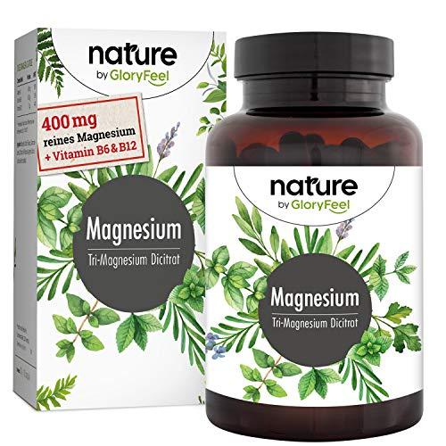 Premium Magnesiumcitrat + Vitamin B6 und B12-2580mg reines Tri-Magnesium-Di-Citrat - 400mg elementarem Magnesium pro Tag - Mit B6 und B12 für beste Bioverfügbakeit - 180 vegane Kapseln