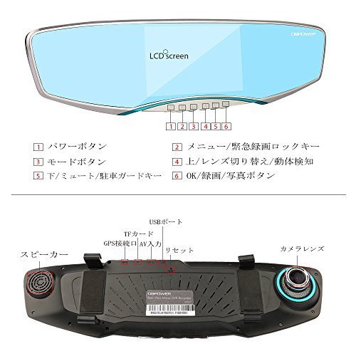 『DBPOWER ドライブレコーダーミラー 5インチ液晶モニター 1080PフルHD バックカメラも付属 120度広角 G-sensor 動体検知 常時録画』の5枚目の画像