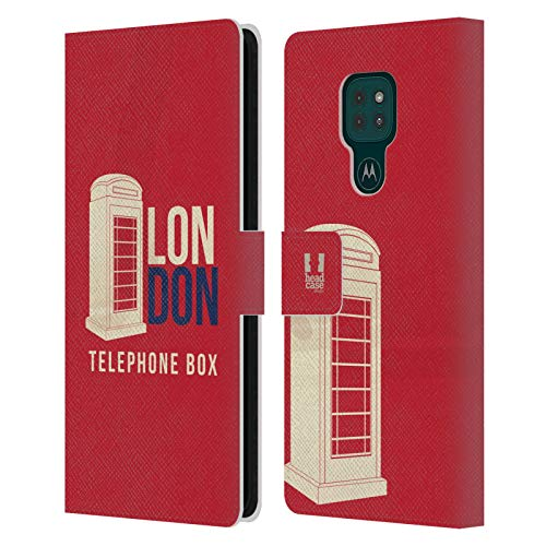 Head Case Designs Telephone Box London Best Leather Book Wallet Case Cover and Matching Wallpaper Compatible with Motorola Moto G9 Play