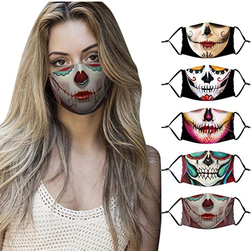 LiLiMeng 5PCS Women Man Cotton Halloween Print Face ṁɑѕḱ - Washable Reusable Face 𝘽𝙖𝙣𝙙𝙖𝙣𝙖 for Cycling Camping Travel (B)