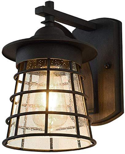 Mooie decoratieve verlichting buitenlamp E27 zwart metaal en glas scherm gevlochten lampen design tuin buiten balkon Sconce Coin Villa ingang, verlichting max. 60 W.