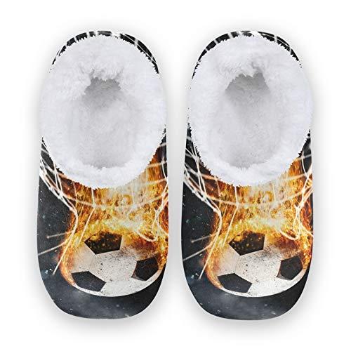 TropicalLife JNlover Sport Fire Soccer Ball Mujeres Hombres Cerrado Back House Pantuflas Confort Coral Fleece Fuzzy Feet Zapatillas de casa para interiores y exteriores, color, talla Large