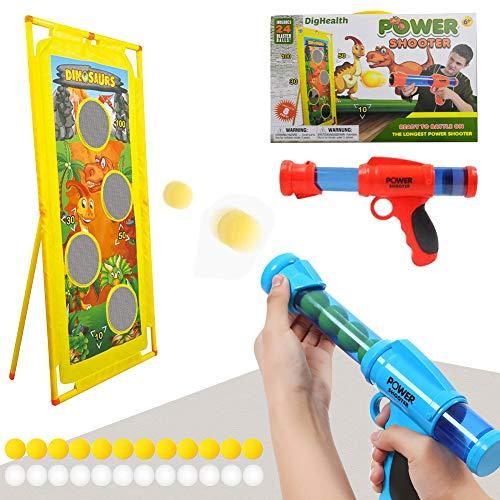HahaGo 2PCS Power Popper Gun und Standing Shooting Target, Outdoor Shooting Game mit weichen Schaumkugeln, Air Powered Shooter Toy Guns, Kids Air Powered Toy Gun für Rollenspiele mit Familie Partnern