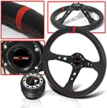 Honda Prelude 350mm Steering Wheel Deep Dish Style with Hub Adapter and Carbon Fiber Horn Button