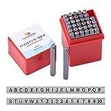 PandaHall Elite 36 Pcs Brief- und Nummernstempel-Set Alphabet A bis Z und Nummer 0 bis 9 Eisendichtung Schlagwerkzeuge 4mm Zeichen zum Stempeln von Metall, Schmuck, Leder, Holz