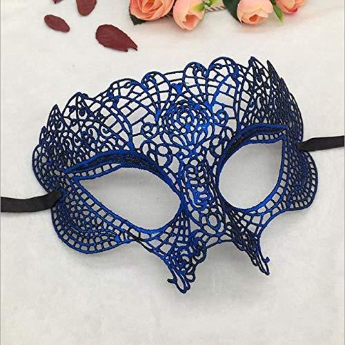 TWELVEMJ Máscaras de Encaje para Disfraces Fiesta de Disfraces de Halloween Mujeres Niñas Maquillaje Elegante Máscara Ocular Máscara de Carnaval Veneciano Decoración, Azul