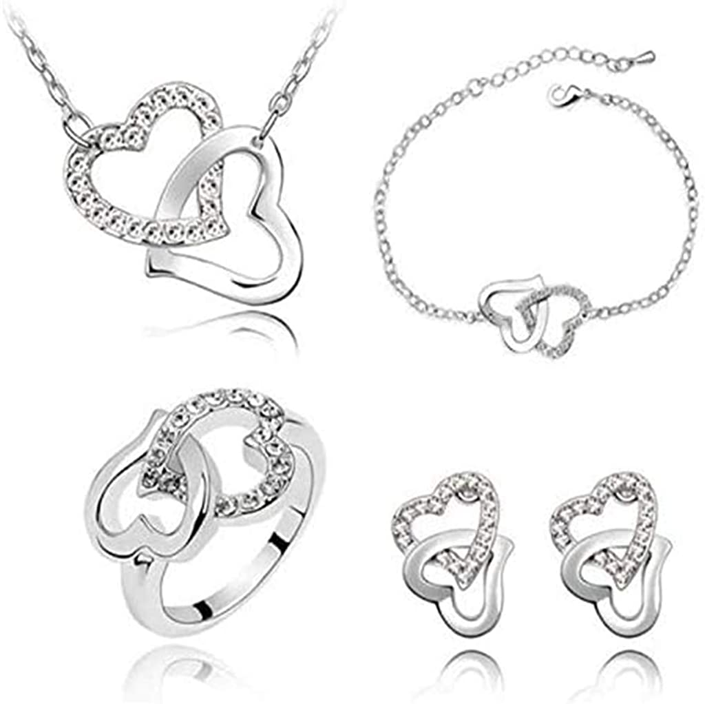 Ksowam 4 PCS Jewelry Set with All items Limited price sale in the store Chain Heart Necklace He Rhinestone