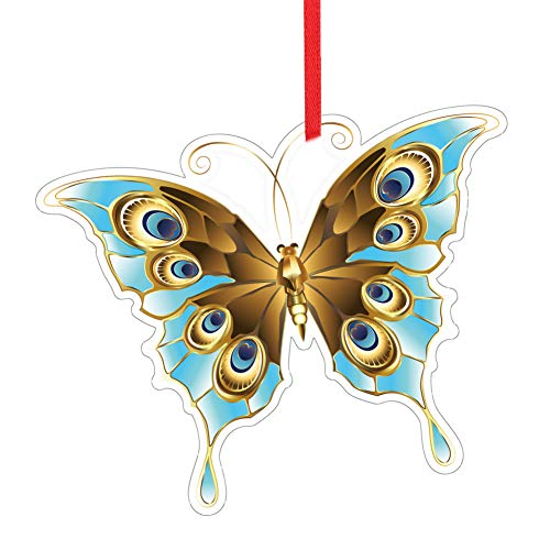 WaaHome Butterfly Christmas Ornaments Butterfly Keepsake Ornaments for Christmas Tree Decorations, for Women Girls