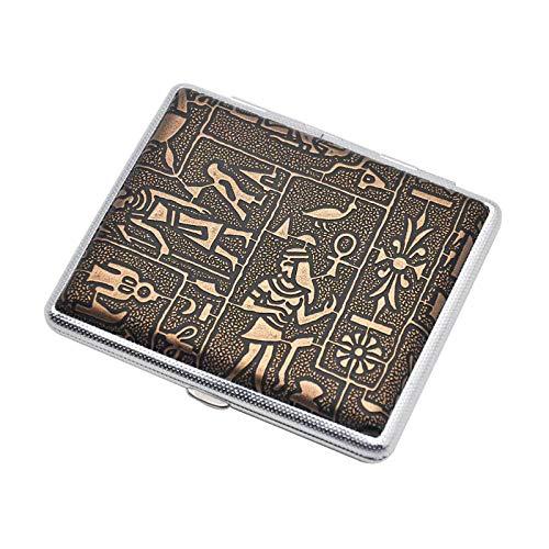 FYAS Metal Pitillera Clip de Resorte de Doble Lado Caja de Cigarrillos de Cuero,Egipto Dorado, Puede Contener 14-16-18-20 Cigarrillos