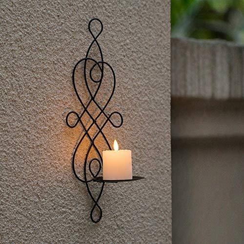 QAH Candelero de Pared,Elegante candelabro de Hierro Giratorio para Colgar en la Pared,candelabro Decorativo para el hogar,decoración de Apliques(Black)