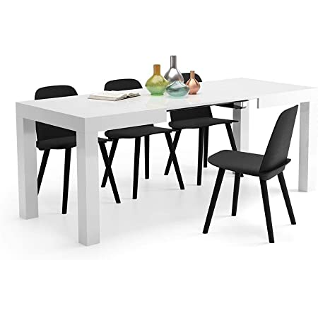 Mobili Fiver, Table Extensible Cuisine, First, Blanc Laqué Brillant, 120 x 80 x 76 cm, Made in Italy
