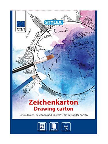 Stylex 46727 - Zeichenkartonblock weiß, DIN A4, 20 Blatt 190 g/m², extra stabiler Block mit weißem Zeichenpapier, zum Zeichnen, Malen und Skizzieren