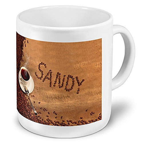 """XXL Riesen-Tasse mit Namen """"Sandy"""" - Jumbotasse mit Design Kaffeebohnen - Namens-Tasse, Kaffeebecher, Becher, Mug"""