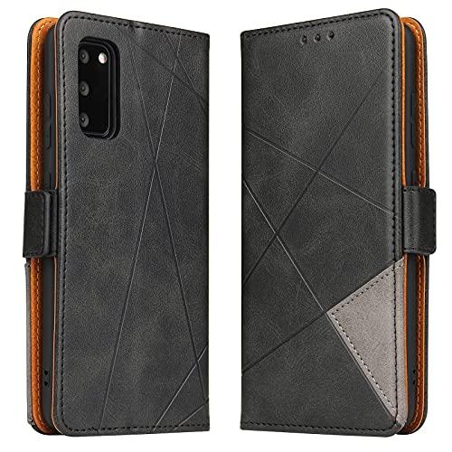 BININIBI Hülle für Samsung Galaxy S20 FE, Klapphülle Handyhülle Schutzhülle für S20 FE Tasche, Lederhülle Handytasche mit [Kartenfach] [Standfunktion] [Magnetisch] für Samsung Galaxy S20 FE, Schwarz