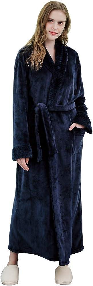 Womens Long Robe Soft Fleece Plush NEW ARRIVAL Lad Bathrobe 着後レビューで 送料無料 Fluffy Nightgown