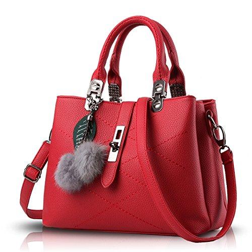 Tisdaini® Damenhandtaschen Mode Schultertaschen Shopper Umhängetaschen Weinrot
