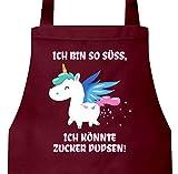 ShirtStreet süßes Unicorn Glitzer Barbecue Baumwoll Grillschürze Kochschürze Einhorn - Zucker...