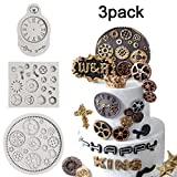 Vodolo (Set of 3) Steampunk Cogs Fondant Mold - Clock Watch Wheel Gears Silicone Mold Chocolate...