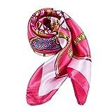 ALBERTO CABALE Bufanda de Seda a la Moda CLEO, para la Mujer, Pañuelo de Cabeza para Pelo y Cuello, Envuelta en Caja de Regalo Naranja Rosada