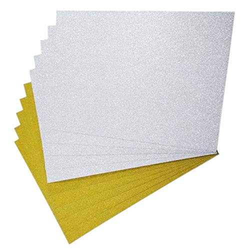 50 hojas de papel de origami de un solo lado con purpurina A4
