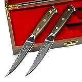 Stallion Damastmesser Ironwood Zwei Steakmesser - Damaststahl mit Griff aus