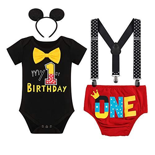 Disfraz infantil de Mickey para niños de 4 piezas con lazo para los oídos, #C: Negro Mi primer cumpleaños una, 12-18 Meses