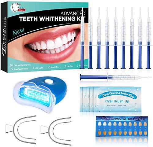 BEAU-PRO Kit Blanchiment Dentaire, 10*Gel de Blanchiment des Dents, 1*LED Lampe, 2*Plateau Dentaire, Blanchiment Dentaire Professionnel et Domicile, pour Taches de Fumée, Dents noires, Soin des Dents