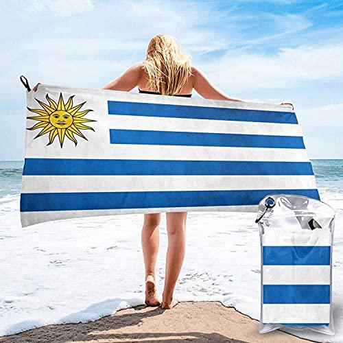 Toalla de Microfibra de Secado rápido con Estampado de Fondo Negro y Dorado, Toallas de baño Ultra Suaves, con mosquetón, Esencial para Acampar, Playa, hogar, Bandera de Uruguay, 27.5 'x55