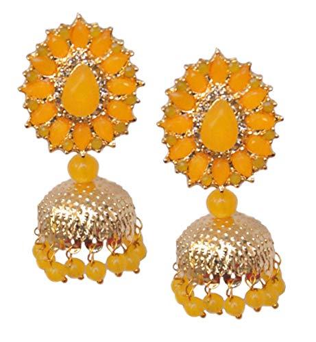 Pahal Traditional Jadau Yellow Kundan Pearl Gold Jhumka Earrings Indian Bollywood Bridal Jewelry for Women